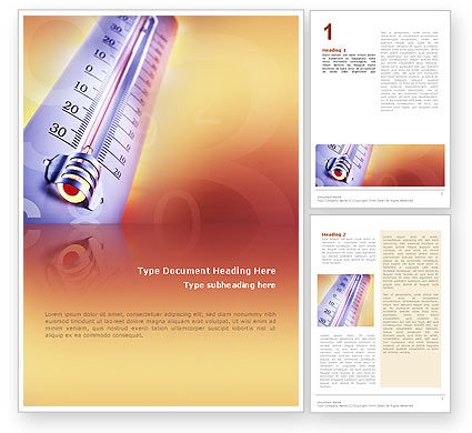 Thermometer Word Template, 02390, Utilities/Industrial — PoweredTemplate.com