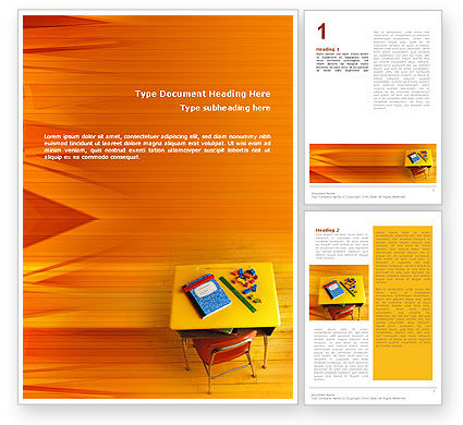 School Desk Word Template, 02395, Education & Training — PoweredTemplate.com
