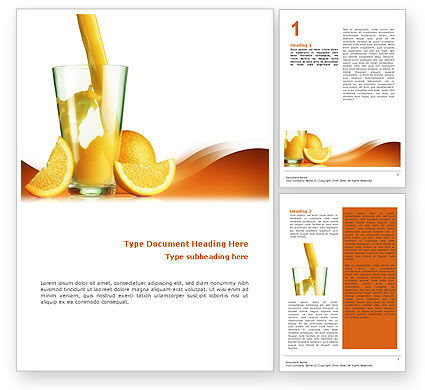 Orange Juice Word Template, 02416, Food & Beverage — PoweredTemplate.com