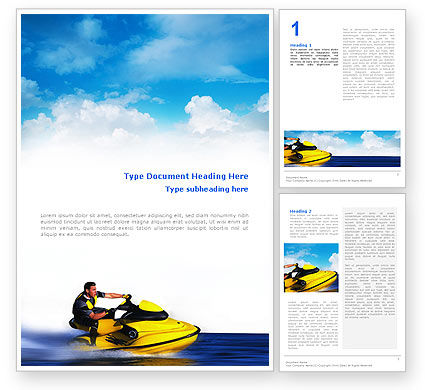 Sports: Water Motorfiets Word Template #02421