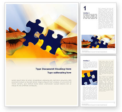 Business Concepts: Pieces of Puzzle Word Template #02430