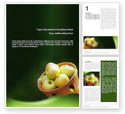 Food & Beverage: Basket of Apples Word Template #02432