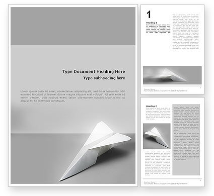 Construction: Paper Airplane Word Template #02441
