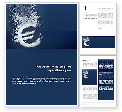 Euro Under Water Word Template, 02447, Financial/Accounting — PoweredTemplate.com