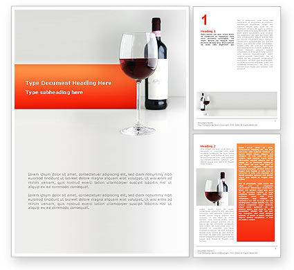 Food & Beverage: Bottle of Wine Word Template #02476