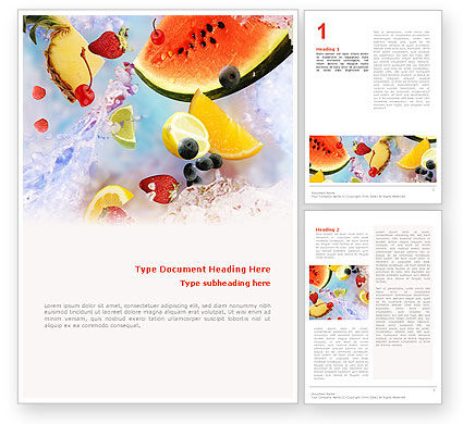 Water Melon Word Template, 02481, Food & Beverage — PoweredTemplate.com