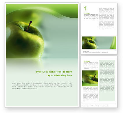 Green Apple On The Light Blue Background Word Template