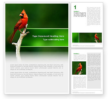 Cardinal Indiana State Bird Word Template, 02503, Agriculture and Animals — PoweredTemplate.com