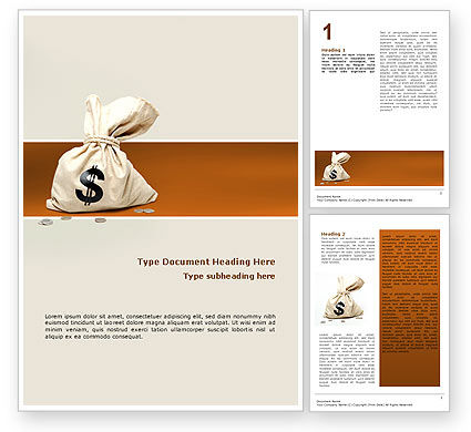 Financial/Accounting: Money Bag Word Template #02516