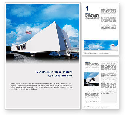 USS Arizona Word Template, 02529, America — PoweredTemplate.com