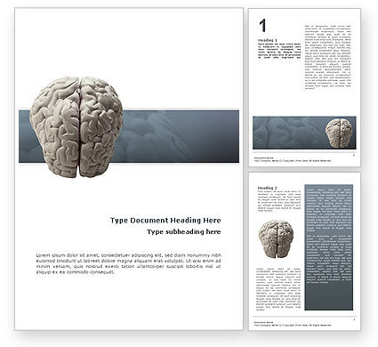 Brain In Gray Word Template, 02541, Medical — PoweredTemplate.com