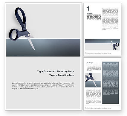 Business Concepts: Scissors Word Template #02557