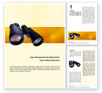 Business: Binoculars Word Template #02558