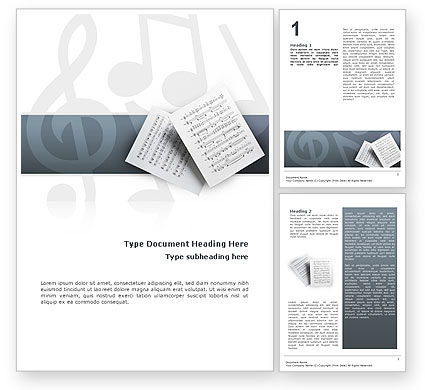 Education & Training: Printed Music Word Template #02563