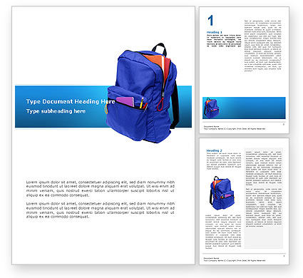 School Backpack Word Template, 02577, Education & Training — PoweredTemplate.com