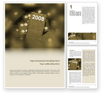 Business Concepts: Year 2008 In Domino Word Template #02594