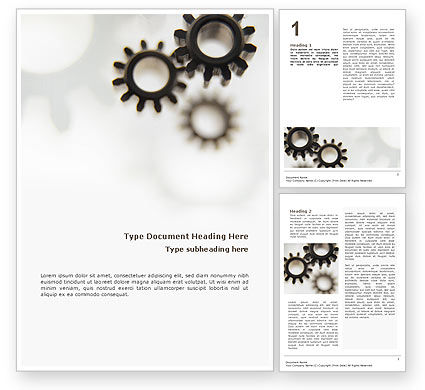 Gears Word Template, 02605, Utilities/Industrial — PoweredTemplate.com
