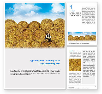 Rolls Of Hay Word Template, 02611, Agriculture and Animals — PoweredTemplate.com