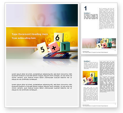 Arithmetic Cubes Word Template, 02630, Education & Training — PoweredTemplate.com