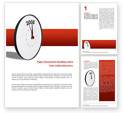 Business Concepts: Year 2008 with Clockface Word Template #02640