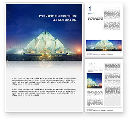 Flags/International: Lotus Temple Word Template #02662