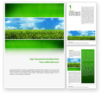 Nature & Environment: Green Field In A Sunny Day Word Template #02663