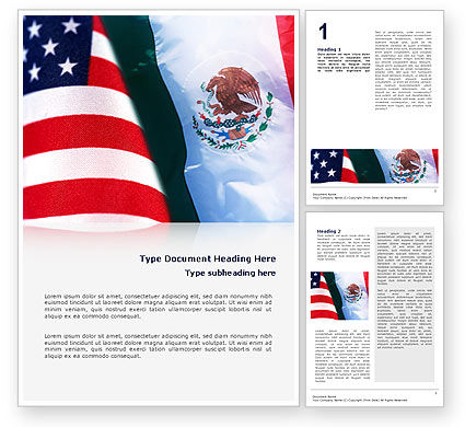 Flags/International: Mexico and USA Word Template #02668