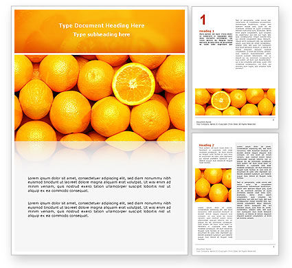 Food & Beverage: Oranges Word Template #02688