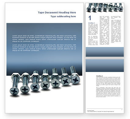 Utilities/Industrial: Screw-Nut and Bolt Word Template #02703