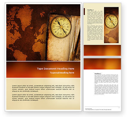 Old Compass Word Template, 02716, Global — PoweredTemplate.com
