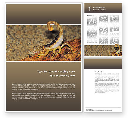 Desert Hairy Scorpion Word Template, 02731, Agriculture and Animals — PoweredTemplate.com
