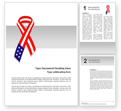 Holiday/Special Occasion: Patriot Ribbon Word Template #02739