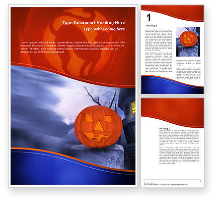 Holiday/Special Occasion: Jack-o-lantern In The Scary Night Word Template #02741