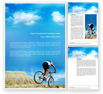 Mountain Cyclist Word Template, 02760, Sports — PoweredTemplate.com