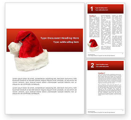 Holiday/Special Occasion: Santa hut Word Vorlage #02766