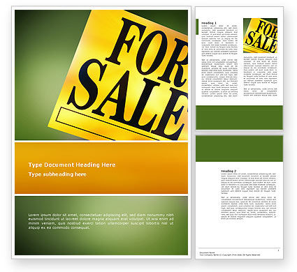 Real Estate Sale Word Template, 02772, Careers/Industry — PoweredTemplate.com