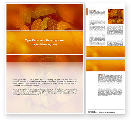 Nature & Environment: Yellow Brown Colored Leaves Word Template #02778