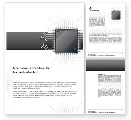 Technology, Science & Computers: Microchip In Gray Colors Word Template #02782