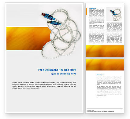 USB Cable Word Template, 02784, Technology, Science & Computers — PoweredTemplate.com