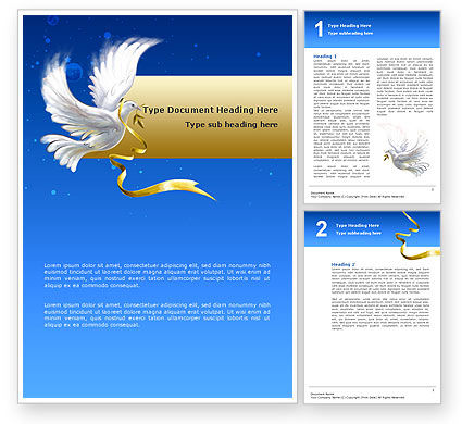 Religious/Spiritual: Dove of Peace Word Template #02810