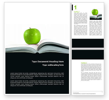 Book And Apple Word Template, 02824, Education & Training — PoweredTemplate.com