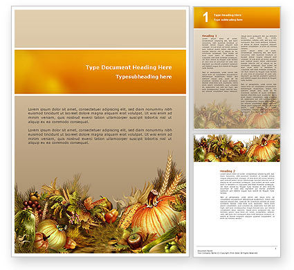 Autumn Harvest Word Template, 02826, Agriculture and Animals — PoweredTemplate.com