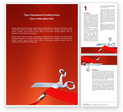 Cutting Red Tape Word Template, 02829, Holiday/Special Occasion — PoweredTemplate.com