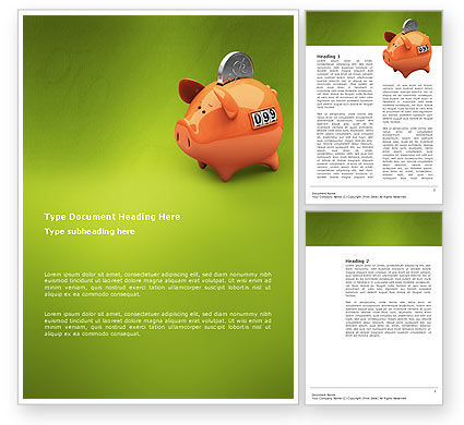 Piggy-bank Word Template, 02832, Financial/Accounting — PoweredTemplate.com