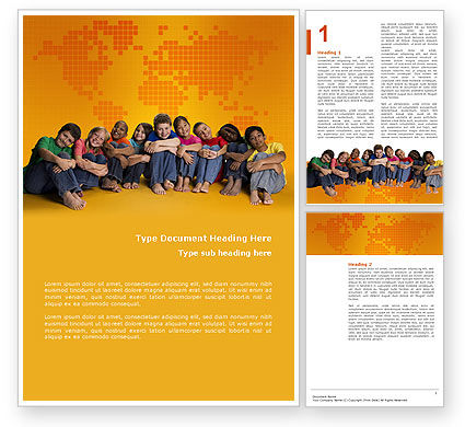People: Kids On the Orange World Background Word Template #02838