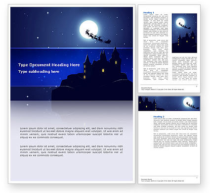 Holiday/Special Occasion: Santa's Sleigh On The Background Of The Moon Word Template #02850