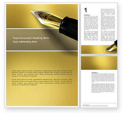 Fountain Pen On The Light Gold Word Template, 02862, Business — PoweredTemplate.com