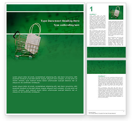 Shopping Cart With White Bag Word Template, 02878, Careers/Industry — PoweredTemplate.com