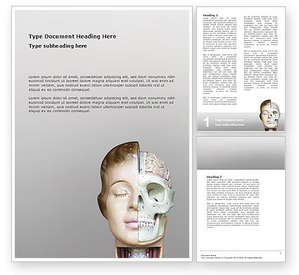 Medical: Skull As Anatomy Tutorial Word Template #02889