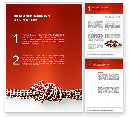 Knot On The Red Background Word Template, 02896, Consulting — PoweredTemplate.com